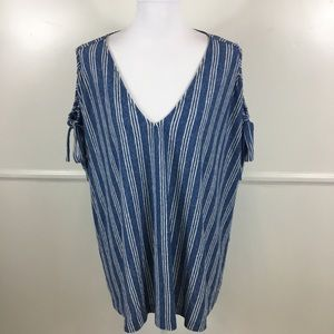 Lucky Brand Tie Shoulder Button Back Top Womens 3X